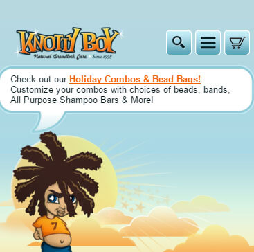 Screen Cap of Knotty Boy's Mobile Website